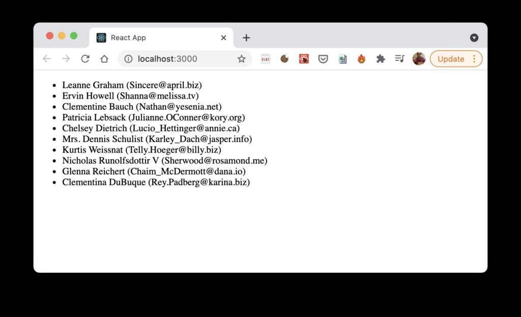 Imagen mostrando el listado de usuarios obtenidos de la url json placeholder, funcionando en el navegador, con url localhost:3000.